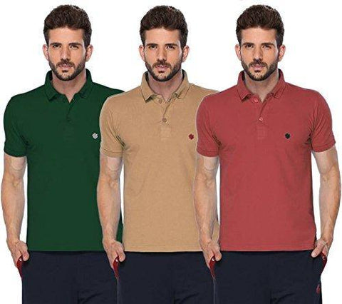 ONN Men's Cotton Polo T-Shirt (Pack of 3) in Solid Green-Camel-Wine colours