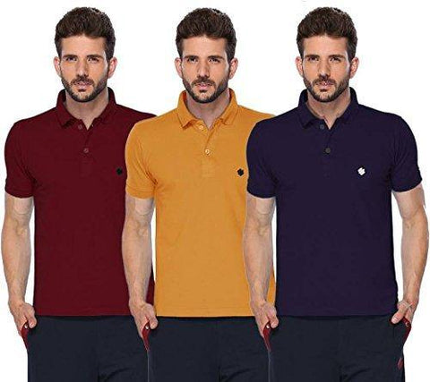 ONN Men's Cotton Polo T-Shirt (Pack of 3) in Solid Maroon-Mustard-Navy Blue colours