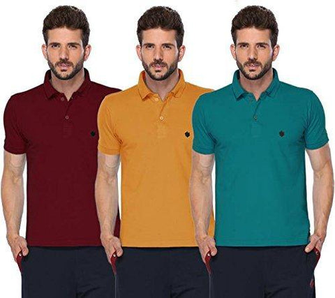 ONN Men's Cotton Polo T-Shirt (Pack of 3) in Solid Maroon-Mustard-Peacock Blue colours