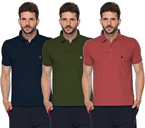 ONN Men's Cotton Polo T-Shirt (Pack of 3) in Solid Navy Blue-Olive-Wine colours - GottaGo.in