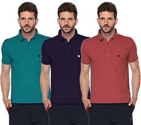 ONN Men's Cotton Polo T-Shirt (Pack of 3) in Solid Peacock Blue-Purple-Wine colours