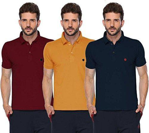 ONN Men's Cotton Polo T-Shirt (Pack of 3) in Solid Maroon-Mustard-Olive colours - GottaGo.in
