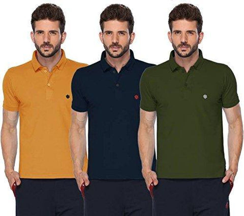 ONN Men's Cotton Polo T-Shirt (Pack of 3) in Solid Mustard-Navy Blue-Olive colours - GottaGo.in