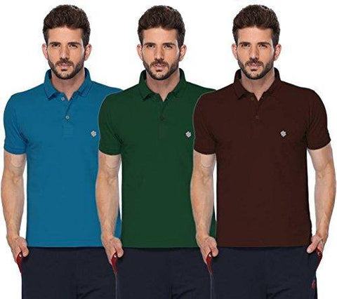 ONN Men's Cotton Polo T-Shirt (Pack of 3) in Solid Bright Blue-Green-Coffee colours