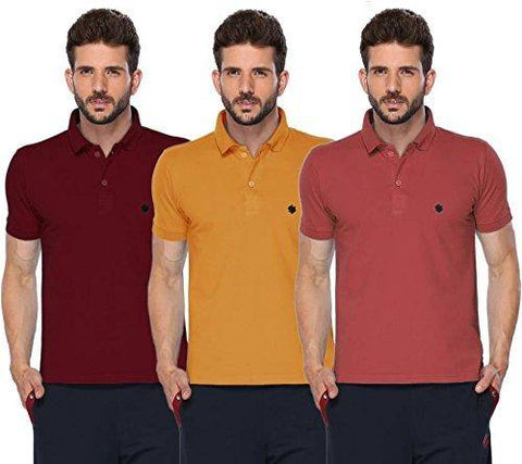 ONN Men's Cotton Polo T-Shirt (Pack of 3) in Solid Maroon-Mustard-Wine colours