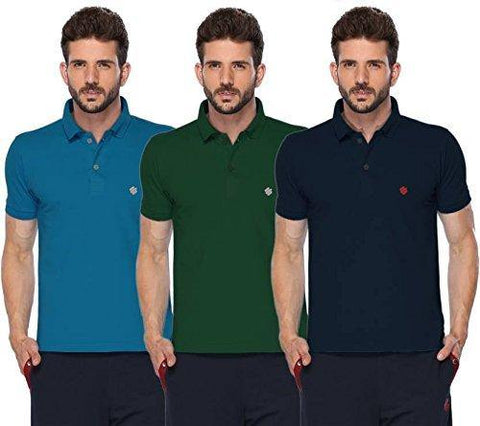 ONN Men's Cotton Polo T-Shirt (Pack of 3) in Solid Bright Blue-Green-Navy Blue colours - GottaGo.in