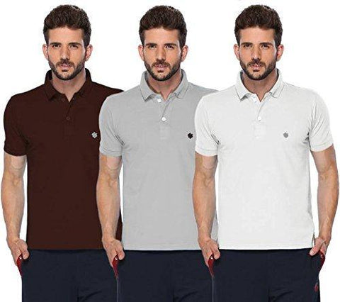 ONN Men's Cotton Polo T-Shirt (Pack of 3) in Solid Coffee-Grey Melange-White colours