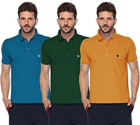 ONN Men's Cotton Polo T-Shirt (Pack of 3) in Solid Bright Blue-Green-Mustard colours