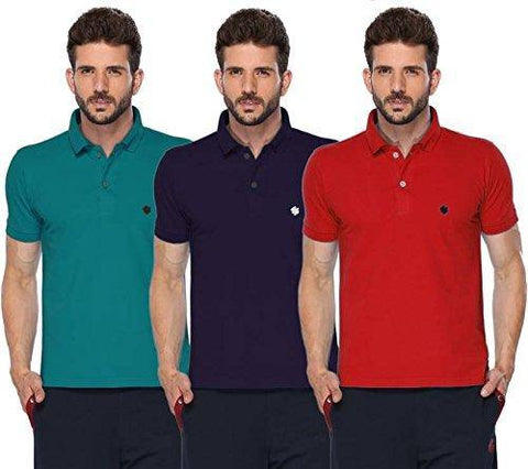 ONN Men's Cotton Polo T-Shirt (Pack of 3) in Solid Peacock Blue-Purple-Red colours