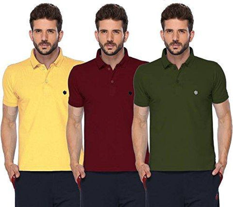 ONN Men's Cotton Polo T-Shirt (Pack of 3) in Solid Lemon-Maroon-Olive colours