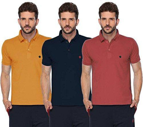 ONN Men's Cotton Polo T-Shirt (Pack of 3) in Solid Mustard-Navy Blue-Wine colours