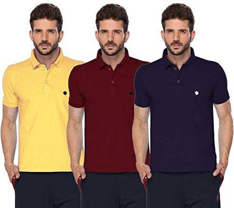 ONN Men's Cotton Polo T-Shirt (Pack of 3) in Solid Lemon-Maroon-Purple colours