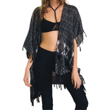 Black & White Boho Paisley Tassel Kimono with - GottaGo.in