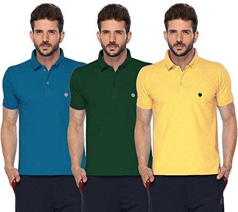 ONN Men's Cotton Polo T-Shirt (Pack of 3) in Solid Bright Blue-Green-Lemon colours