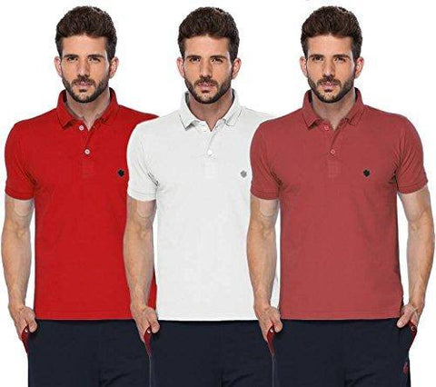 ONN Men's Cotton Polo T-Shirt (Pack of 3) in Solid Red-Wine-White colours