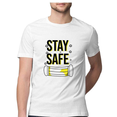 Stay Safe Round Neck T-shirt for Men - GottaGo.in