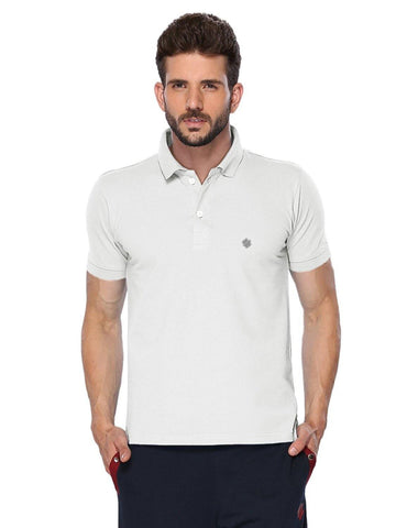 ONN Men's Cotton Polo T-Shirt in Solid White colour