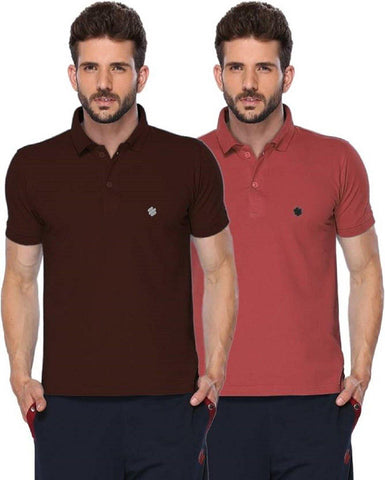 ONN Men's Cotton Polo T-Shirt (Pack of 2) in Solid Wine-Coffee colours - GottaGo.in