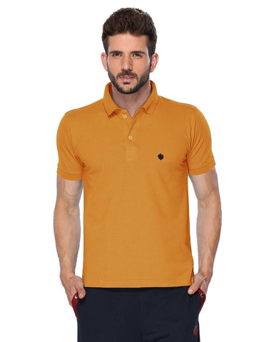 ONN Men's Cotton Polo T-Shirt in Solid Mustard colour