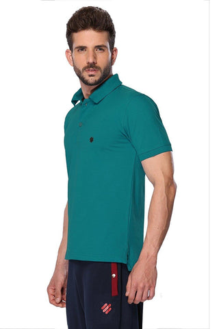 ONN Men's Cotton Polo T-Shirt in Solid Peacock Blue colour
