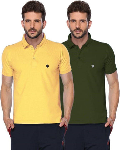 ONN Men's Cotton Polo T-Shirt (Pack of 2) in Solid Lemon-Olive colours - GottaGo.in