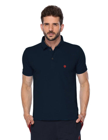 ONN Men's Cotton Polo T-Shirt in Solid Navy Blue colour