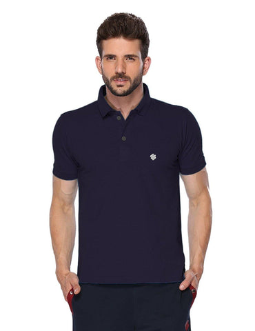 ONN Men's Cotton Polo T-Shirt in Solid Purple colour