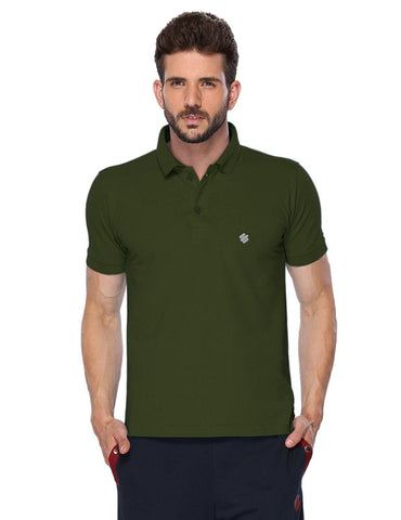 ONN Men's Cotton Polo T-Shirt in Solid Olive colour