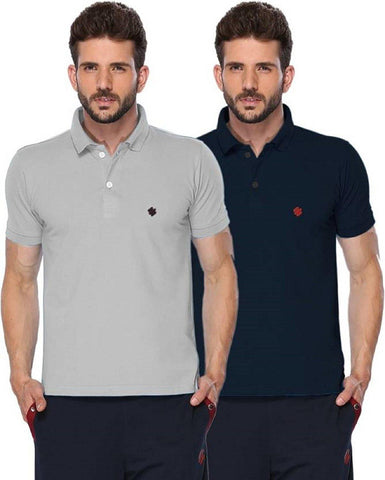 ONN Men's Cotton Polo T-Shirt (Pack of 2) in Solid Grey Melange-Navy Blue colours - GottaGo.in