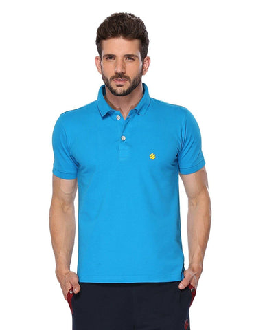 ONN Men's Cotton Polo T-Shirt in Solid Royal Blue colour