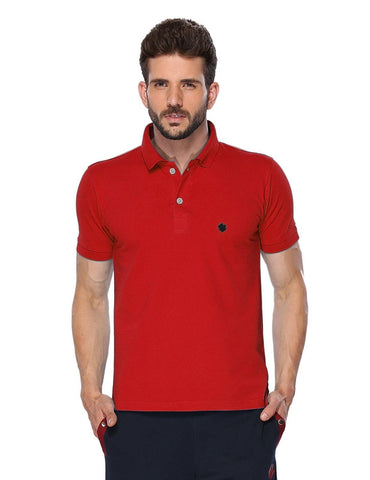 ONN Men's Cotton Polo T-Shirt in Solid Red colour