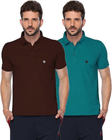 ONN Men's Cotton Polo T-Shirt (Pack of 2) in Solid Coffee-Peacock Blue colours