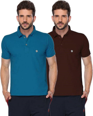 ONN Men's Cotton Polo T-Shirt (Pack of 2) in Solid Bright Blue-Coffee colours