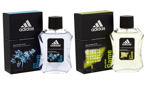 Adidas Combo - Ice Dive and Pure Game EDT Perfume for Men (100 ml x 2) - GottaGo.in