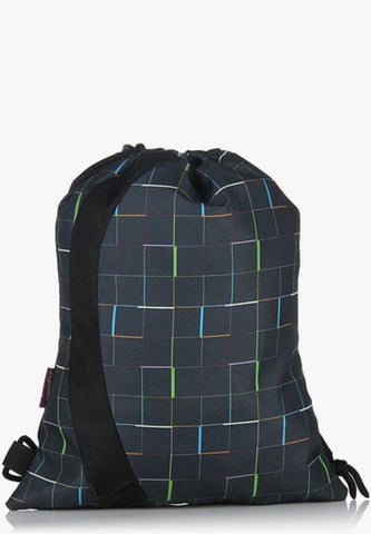 Drawstring Neo-Grey Backpack / School Bag by President Bags - GottaGo.in