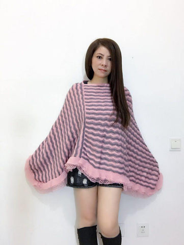 Manra Women Knitted Cape Poncho - Pink & Grey Zigzag Strips with Lace Border
