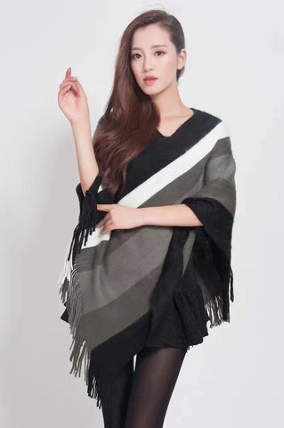 Manra Women Knitted Cape Poncho - Black, White & Grey Strips with Fringe