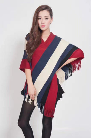 Manra Women Knitted Cape Poncho - Maroon, Blue & White Strips with Fringe