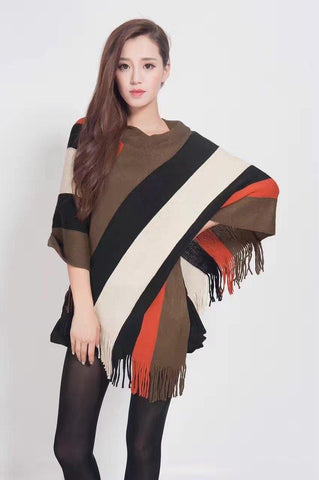 Manra Women Knitted Cape Poncho - Orange, Black & Brown Strips with Fringe