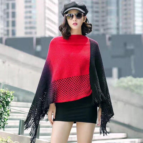 Manra Women Knitted Border Cape Poncho - Black Red with Fringe