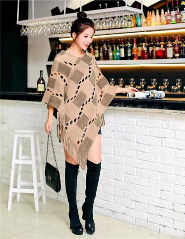Manra Women Knitted Cape Poncho - Brown Checks with Fringe