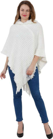 Manra Women Pure Wool Knitted Cape Poncho in White Colour
