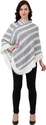 Manra Women Pure Wool Knitted Poncho in White-Grey Strips