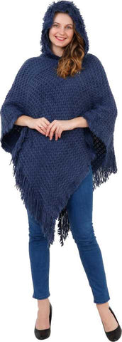 Manra Women Pure Wool Knitted Cape Poncho in Navy Blue Colour