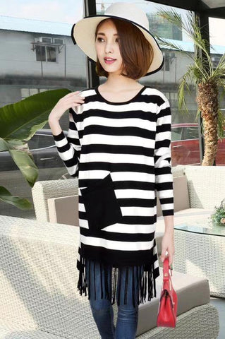 Manra Women Woollen Top - White Black Strips with pocket with Fringe