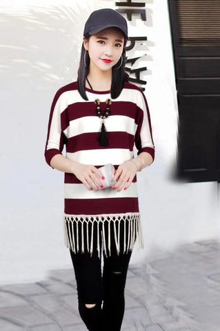 Manra Women Woollen Top - White Maroon Strips with Fringe (Necklace included)