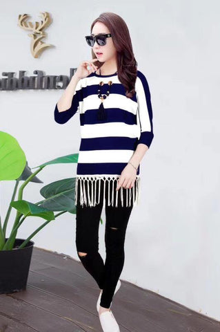 Manra Women Woollen Top - White Blue Strips with Fringe (Necklace included)