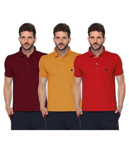ONN Men's Cotton Polo T-Shirt (Pack of 3) in Solid Mustard-Maroon-Red colours