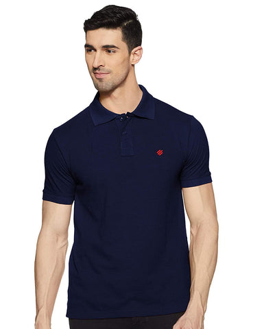 ONN Men's Cotton Polo T-Shirt in Solid Airforce Blue colour - GottaGo.in