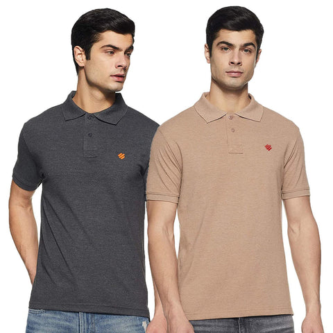 ONN Men's Cotton Polo T-Shirt (Pack of 2) in Solid Black Melange-Camel colours - GottaGo.in